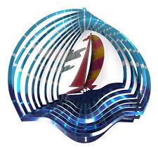 WorldaWhirl Whirligig 3D Sailboat Wind Spinner Stainless Kinetic Garden Twister