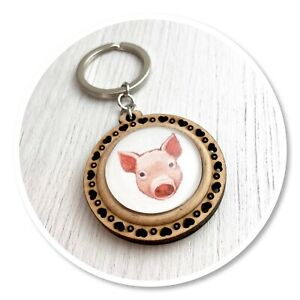 Pig Wooden  keyring key ring Piggie farm animal cute