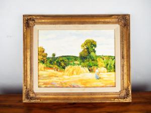Vintage Oil On Canvas Painting Severios Malva Vienna Summer Harvest Landscape