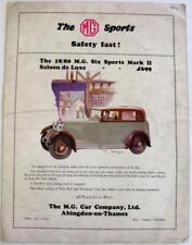 MG 18/80 Six Sports Mark II 1929 Original Car Sales Brochure