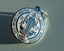 Pendentif Argenté Médaille de SORCIER Saint BENOIT Pur Acier Inoxydable + Chaine