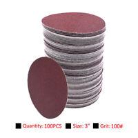 100pcs 75mm 3 Inch Sanding Disc 100 Grit Orbital Sander Pads Abrasive Sandpaper