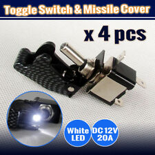 4 PCS WHITE LED LIGHT TOGGLE SWITCH + CARBON MISSILE COVER 12V ON/OFF SWITCH