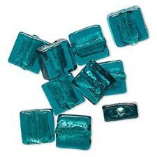 2485 Glass Lampwork Square Flat Beads Teal Silver Foil PK10 12mm *UK EBAY SHOP*