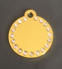 *SMALL* GOLD DIAMANTE DISC engraved Cat / Dog / Pet ID tags GLAMOUR / BLING