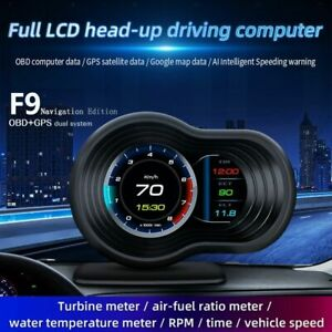 OBD2+GPS Smart Car Head Up Display HUD Gauge Water Oil Temp Speedometer Alarm