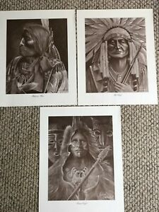 Lot of 3 Prints by Native American Artist Richard A. Montanbault
