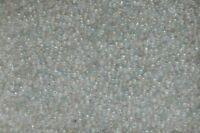 SACHET DE 20g ENVIRON 1200 PERLES DE MINI ROCAILLE VERRE BLANC TRANSLUCIDE 2mm