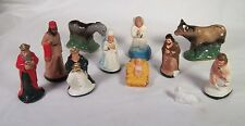 Chalkware Nativity Figures & Animals Vintage Christmas Lot of 11 Plaster Pieces