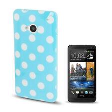 TPU Case Punkte Schutzhülle für HTC One M7 in hellblau mit weißen Punkten Cover