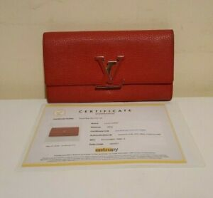 Louis Vuitton Taurillon Leather Scarlet Capucines Red Wallet Clutch RRP $1,810