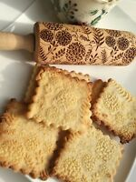 Engraved Rolling Embossed Dough Roller Wooden Rolling Pin Cutter Dandelion