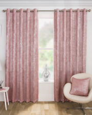 PAIRS OF SILVER GLITTER SPARKLES PALE PINK BLUSH EYELET BLOCK OUT LIGHT CURTAINS