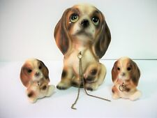Vtg Mcm Big Eyed Cocker Spaniel Dog w Leashed Puppies Japan Brinn's Foil Sticker