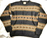 Vintage Woolrich Gray Speckled Fair Isle Wool Sweater Sz Large Great Condition