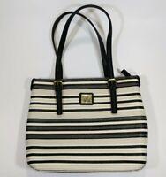 Anne Klein Black White Stripe Pocket Book Purse Handbag Burgundy Lining Zipper