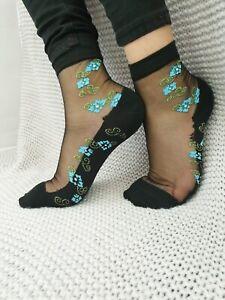 Floral Transparent Ultra Thin Orignal Quailty  Crystal Lace Elastic Sheer Socks