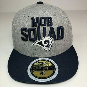 New Era 59Fifty Kids NFL L.A. Rams Mob Squad Cap Size 6 5/8 Gray Navy New