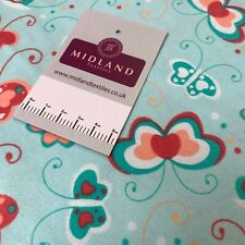 Aqua Mint Butterfly Cotton Wynciette Soft Brushed Fabric 110 cm Wide MK1227-7