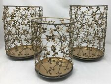 Bath & Body Works Elements Gold Dots Wire Metal Luminary Candle Holders Set Of 3