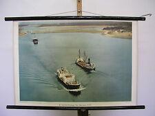 Bella immagine muro St. Lorenz via mare presso Massena N.Y. navi 75x51cm VINTAGE ~ 1960