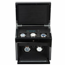 Paul Design Double Watch Winder For 2 Automatic Watches + 3 Watch Box Storage