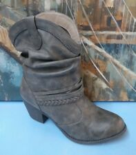 Womens So 112764 Boots Booties Moto Flat Short Ankle 10M Gray Grey