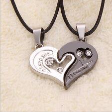 Sweet Lover Men Women Titanium Steel I Love You Heart Pendant Couple Necklace