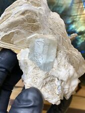 Etched Facet Grade Terminated Aquamarine w/ Muscovite Mica and Quartz Matrix