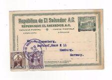 1926 San Salvador El Salvador Revalued Postal Card to Germany