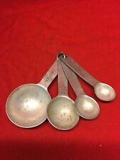 Set Of 4 Vintage Aluminum Measuring Spoon Set On Ring Kitchen Baking Mid Century