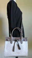 Dooney & Bourke Ariel Oyster Grey Ostrich Embossed Leather Satchel NWT