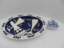 Millennium Party Tray Clay Art Stoneware Champagne Platter Chips Dip Y2K - EC