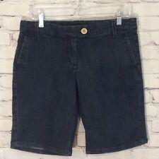 New York and Company Women's Shorts Size 10 Dark Wash Denim Bermuda Walking