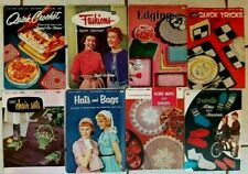 8 Vintage 1950's Coats & Clark's Magazines Crochet Doily Tatting Knitting Vgc Cr