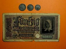 Alemania Tercer Reich 1; 5; 10 REICHSPFENNING & 50 reichsmarks 1941-1944
