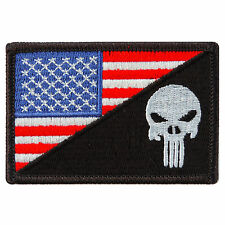USA US Flag Skull Motorcycle Biker Sniper Army Navy Punisher Iron on Patch #P041