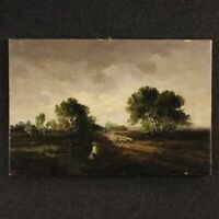 Painting framework Dutch landscape signed oil canvas antique style impressionist