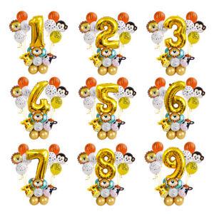 27pcs Jungle Safari Animal Foil Balloon Set Kids 1st Birthday Party Decoration