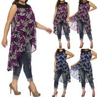 Summer Women Plus Size Casual Long Tank Blouse Lace Neck Tops Floral Vest US
