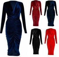 New Ladies Long Sleeve Ruched Velvet Bodycon Stretch Cocktail Midi Party Dress