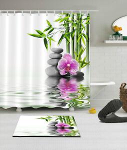 Waterproof Fabric Purple Orchid Flower Bamboo Spa Shower Curtain Bathroom Mat