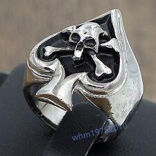 Size 8.5 Stainless Steel Cross Bone Skull  Playing Card Poker Spade Biker Ring