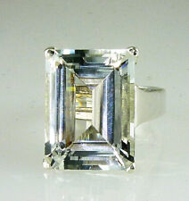 Natural Large White Topaz Emerald Cut Ring,16X12 MM 925 Silver 12.95 Carats