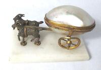 2 GOAT pulling MOP EGG on Wheels Thimble Salt or Trinket,Original Antique c1800