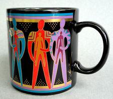 Coffee Mug 13oz Laurel Burch Talismen 1988 Figures Black Gold Gilt Japan Vtg