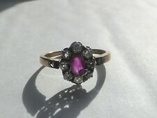 Antique Coussin Coupe Diamant & Rubis Or 18 ct victorian ring