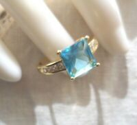 Vintage Jewellery Gold Ring with Blue Topaz White Sapphires Deco Jewelry 10 U