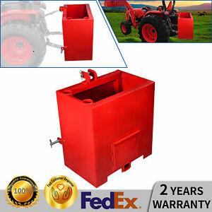 Tractor Counterweight Ballast Box 3 Point Quick Tach Hitch Receiver Attachment