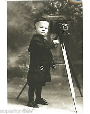 Little Boy With Antique Camera & Tripod Calumet MI Nara Photo Old Camera GREAT